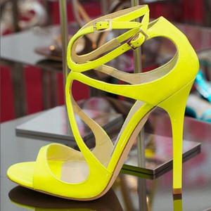 Seksi Sarı Topuklar Kadınlar Sandalet Çapraz Kayış Peep Toe Limon Rugan strappy Sandalet Ayakkabı Yüksek Topuklar Düğün Ayakkabı Gelin
