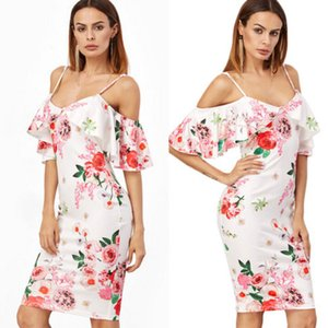 Swing Boho delle donne vacanze cinghietti Flower Dress 2018 nuovo modo Suumer signore fuori-spalla Ruffle spiaggia di Midi BOHO Abiti S L