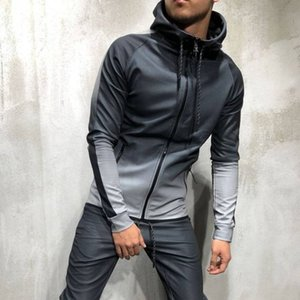 Fashion-Men's 2019 Sportswear 2 Stück Sport Jogging Running Set Kapuze Sportbekleidung Trainingsanzug Training Schweiß Fitness Anzug Sportbekleidung