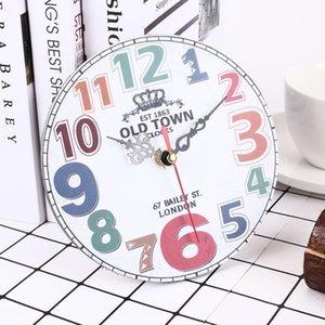 Украшения часы круглые МДФ цифровые настенные часы немой часы 15 см дерево отель праздник кухня домашний декор молчание