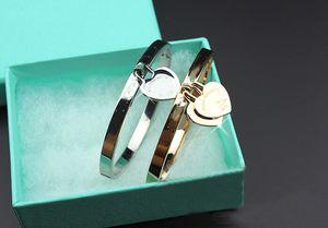 Классический горячий титан сталь розовое золото дамы браслет ювелирные изделия 18K позолоченный изысканный двойной персик сердце браслет женщины с коробкой