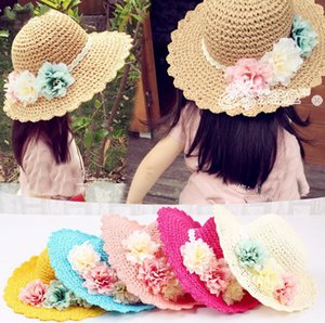 3-4-6-8-Year-Old Hat Meninas Verão New Style Handmade Flower Straw Sweet Children Praia Hat topee Sun