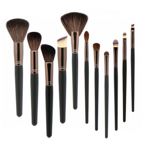 Chèvre cheveux pinceaux de maquillage 11pcs Make Up Set Outils Kit Noir Naturel Blending Fondation Contour de jeu de pinceau de maquillage professionnel