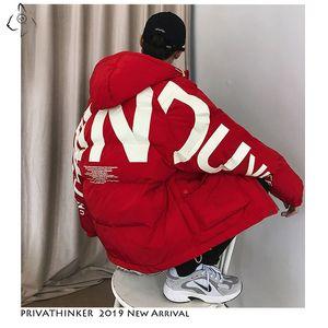 Privathinker quente grossa Homens jaqueta de inverno roupas casuais solta Harajuku Mens Parkas Coats capuz Imprimir Red Masculino Windbreaker