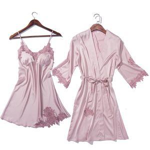 Seta di alta qualità raso Camicia da notte Imposta donne camicia da notte + Robe 2 pezzi di indumenti da notte sexy femminile Notte Rosa Gown casa Wear