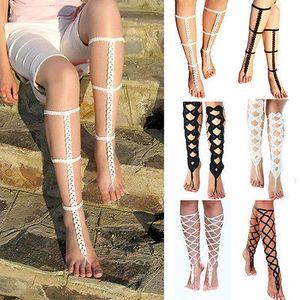 Joyería hecha a mano de tela de malla boho sandalias descalzas de ganchillo de algodón del pie de la cadena para el tobillo de la boda del tobillo