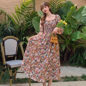 Женщины Длинные шифон Цветочные платья лето 2020 Runway Элегантный Vintage корейских платье партии Boho Ruched Tropical Beach Vacation платье