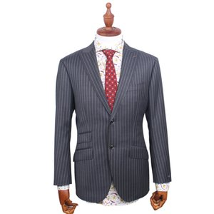 Grey Striped Tuxedo Custom Made Groom Suit Bespoke Wedding High Wool Suits For Men Notch Lapel Men Wedding Suit