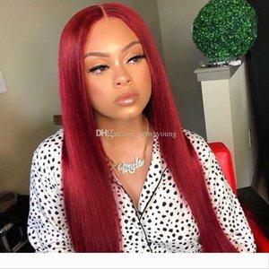 Peruca de cabelo do cabelo brasileiro barato Humano Lace cabelo peruca da parte dianteira Silk Top peruca cheia do laço Vermelho Humano Lace Wigs