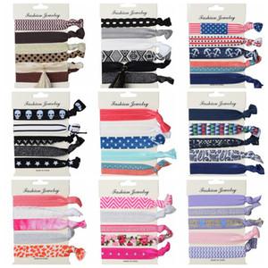 6pcs / lot coloré hairband corde élastique 18 designs points rayé floral drapeau amérique arbre de Noël femmes handband liens de cheveux de mode