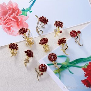 Creative Mother's Gifts Mix many Styles Alloy Gold Red Rhinestone Carnation Brooch Floral Corsage Scarf Dress For Female Women Lady Brooches