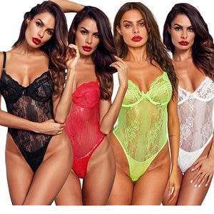 Hot sexy jumpsuit lingerie for women sexy body suit lingerie sexy long lace lingerie lace print perspective three points type