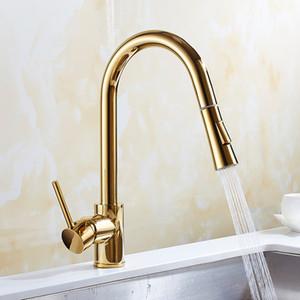 Pirinç mutfak musluk Nikel / altın / krom / Siyah soğuk sıcak su dokunun mutfak lavabo musluk musluk mikser ile aşağı çekin mikser dokunun
