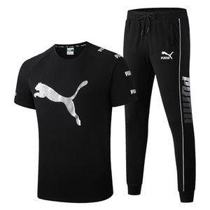 New Arrivals Summer Mens tracksuit short sleeve T-shirt+Long pants Pullover sports suit cotton Brand sports set men's High-quality clothing