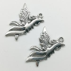 50pcs / Lot Phoenix Uccelli Lega di Fascini Ciondolo Gioielli Retrò Creazione di portachiavi in argento antico Ciondolo in argento per collana orecchini Bracciale 35 * 22mm
