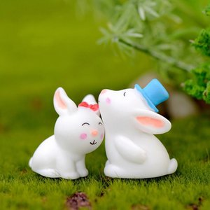Resin Cartoon White Rabbit Bunny amanti svegli miniatura Animal Doll Ornamento accessori per terrari Succulente Pot Fata decorazione del giardino
