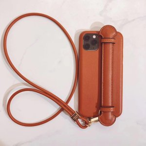 Luxury Phone Case for Protective Cover Iphone 11 Soft Shell Fashion Drop Resistance Creative Mobile Phone Shell Leather Lanyard Wrist