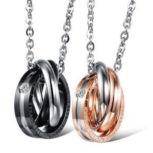 Joyería de acero inoxidable colgante de collar de tres anillos Pareja Conectado 14k chapado en oro de acero de titanio collar amante nuevo estilo
