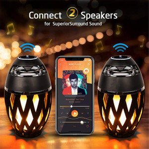 2 em 1 Bluetooth Speaker Led Chama Atmosfera Lâmpada Luz Portátil Wireless Stereo Speaker With Music Bulb Outdoor Camping Woofer HOT