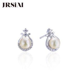 JRSIAL 925 Sterling Silver jóias brincos da moda coreana de água doce mulher pérola Ladies