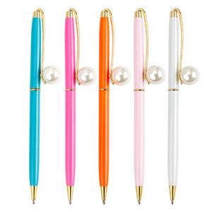Fashion Girl novo Pearl Metal Ball Pens Ballpen grandes pérolas canetas esferográficas Canetas material escolar material de escritório