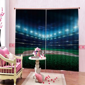 Custom Any Size Football Field American Soccer Ball 3D Blackout Curtain Photo Print For Living room Bedroom Blackout Drapes Decor Sets