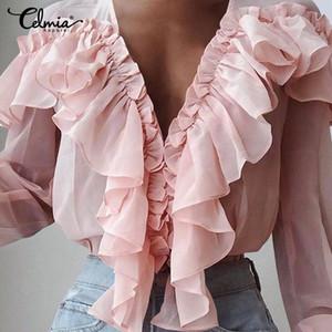 Celmia Soild Couleur manches longues volantée Brochage femmes Chemisier Bureau de la mode Deep V-Neck Top Shirt Casual élégant Blusas S-5XL