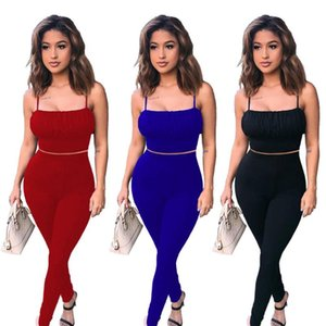 Women Set Two Pieces Sets Summer Tracksuits Sleeveless Strap Tops+Pants Suit Sexy Fitness Night Club Party Outfits