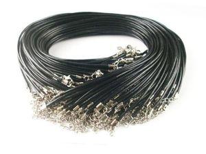 100шт Black Wax Leather Snake ожерелье Бисероплетение шнур Струнного тросик 45см Удлинитель цепь с ювелирной компонентой Lobster Застежки DIY оптовой