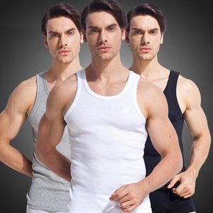 Wholesale- 100% Cotton Men tank top high quality Slim sleeveless vest male Undershirt Bodybuilding Singlet Fitness Simple tank tops