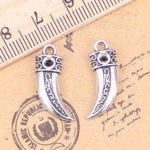 16pcs Charms dents de loup 23 * 8 mm Antique Pendentifs, Vintage tibétain bijoux en argent, bricolage pour collier bracelet