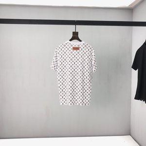 estilo 20SS Europeia nova moda rato orelha grande impressão superior dos homens italianos selvagem T-shirt preto e branco de designer de alta qualidade de algodão dos homens T