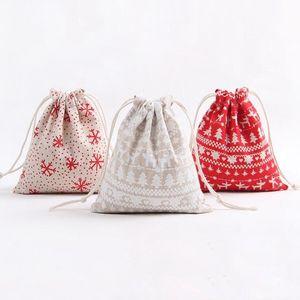 크리스마스 선물 가방 코튼 리넨 졸라 매는 끈 번들 가방 크리스마스 캔디 차 포장 선물 포장 보관 가방 크리스마스 장식 LXL673-1