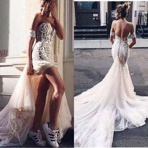 2020 Moda Sexy Boho Sereia Vestidos De Casamento Rendas Apliques Sem Mangas Tribunal Trem Vestido De Noiva Fora Dos Ombros Vestido De Noiva Com Véu Livre
