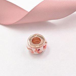 Аутентичные 925 стерлингового серебра шариков Peach Blossom Цветок Spacer Подвески Подходит Pandora Европейский стиль ювелирных изделий Браслеты Ожерелье 788111ENMx
