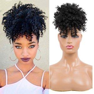 Короткие Afro Kinky завитые хвостик с Банг High Puff кулиской Afro Kinky Synthetic конский хвост с челкой Зажим в выдвижении волос Ponytail
