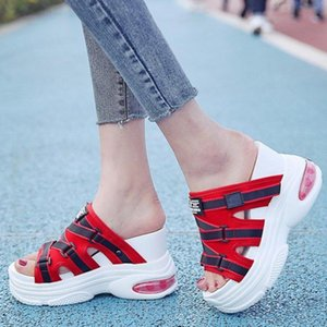 2020 Women Platform Slippers Outside Casual Wedges Shoes For Woman Designers 10cm Height Increasing Chunky Slides Beach Sandals