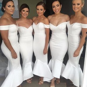 2020 Mermaid Hi-lo Off Shoulder Bridesmaid Dresses Wedding Party Dress White Design Maid of Honor Gowns