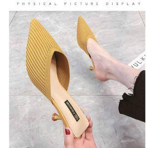 Hot Sale-Net Burgundy ленивым Баотоу половина тапочки женщин носить летом новый трикотажный стилет отметил высокий каблук сандалии сексуальная осень