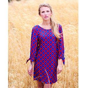 Mud Pie Womens Anderson Dress Geometric Dot Print, Red Navy