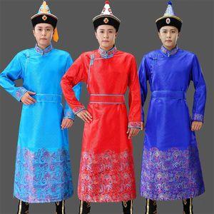 scène du Festival de la Mongolie Costumes hommes adultes vêtements nationaux PRAIRIE longue robe de vêtements ethniques hommes costume de mélange de soie