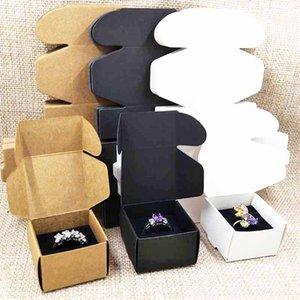 50pcs brown black white cardboard ring packing box jewelry display box with black velvet sponage inside custom logo moq 1000pcs