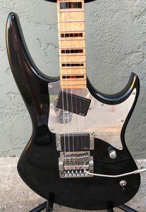 Nadir Hamer Hayalet GT Glenn Tipton Metalik Siyah Elektro Gitar, Kilitleme Nut Kahler Tremolo Köprüsü, Ayna Pickguard, Kopyala EMG Transfer