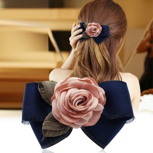 i-Remiel Fashion Floral Floral Hairpin Spring Clip Hairband Korean Jewelry Bow Tie Adult Women Horsetail Hair Bow Accessories
