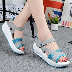 For Women Platform 2019 Summer Wedges Swing Breathable Ladies Patchwork Mesh Shoes Open Toe Sandals Sneakers