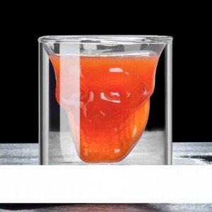 75ml Creative skull glass transparente de Parede Dupla Copos De Vinho Resistente Ao Calor Copo De Cocktail sumo de Caneca Café Copos De Vinho LJJA3760