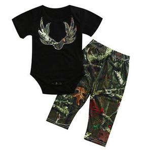 2adet Yenidoğan Çocuk Bebek Bebek Kız Erkek Kısa Kollu Romper Kamuflaj Pantolon Tops yazlık kıyafetler Seti Giysiler