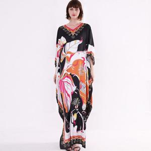 Платья 2014 года взлетно-посадочной полосы женские V-образным вырезом 3/4 рукава с цветочным принтом Свободные дизайн моды праздник случайные летние платья