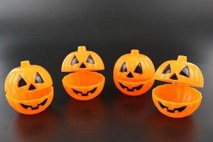 Balde de abóbora laranja com tampa halloween sorriso abóbora adereços fácil de transportar doces caso multi função SN530