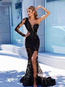 2020 현대 매우 작은 검은 색 이브닝 정장 드레스 우아한 한 어깨 레이스 긴 소매 열기로 돌아 가기 새해 파티 드레스 특별 행사